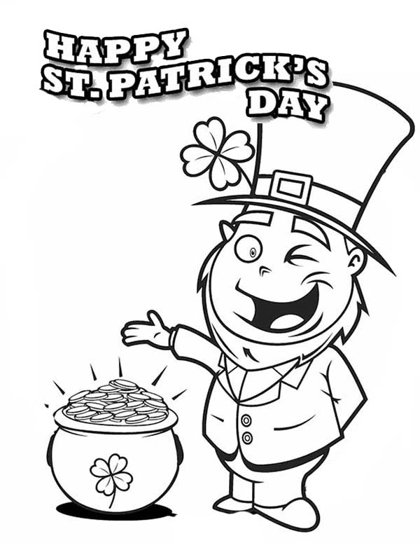 St Patricks Pot of Gold Coloring Page