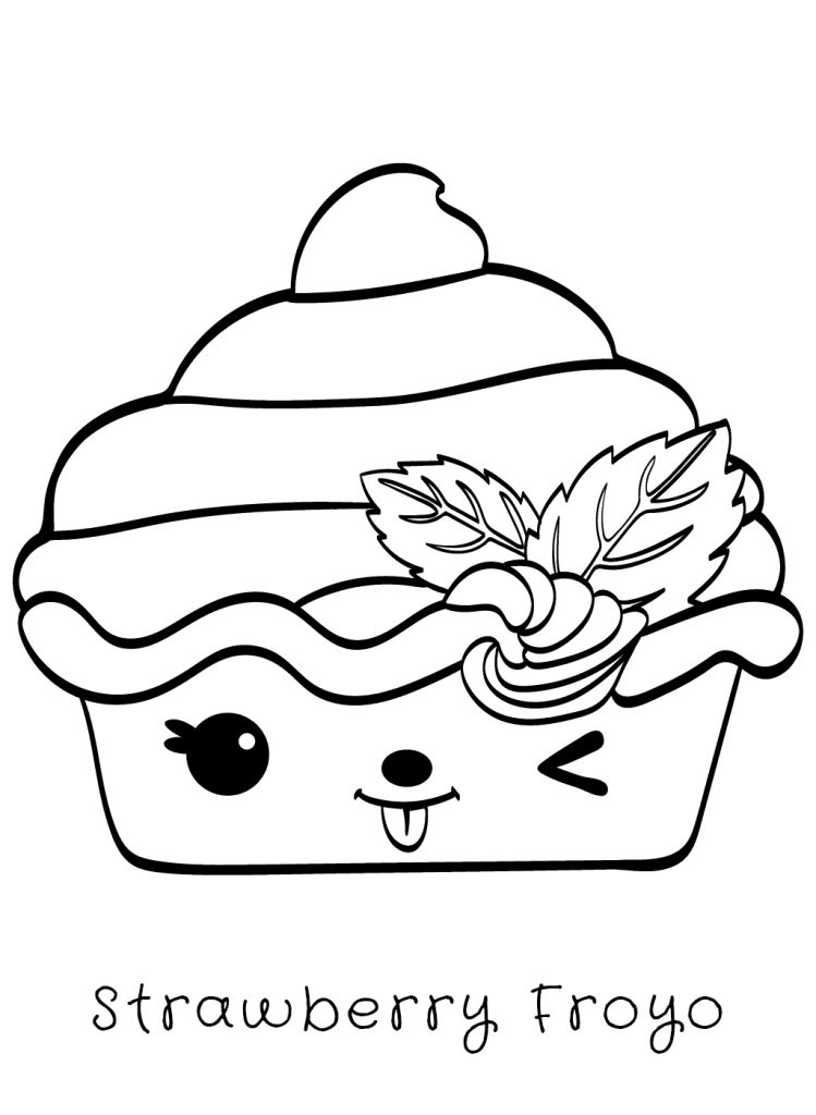 Strawberry Froyo Num Noms Coloring Page