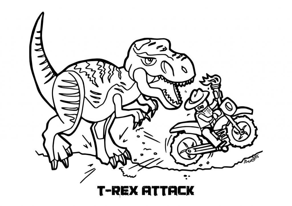 TRex Attack Jurassic World Coloring Pages