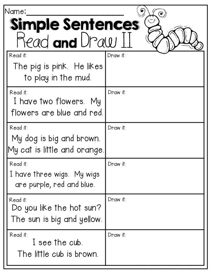 1st Grade English Read and Draw Worksheet