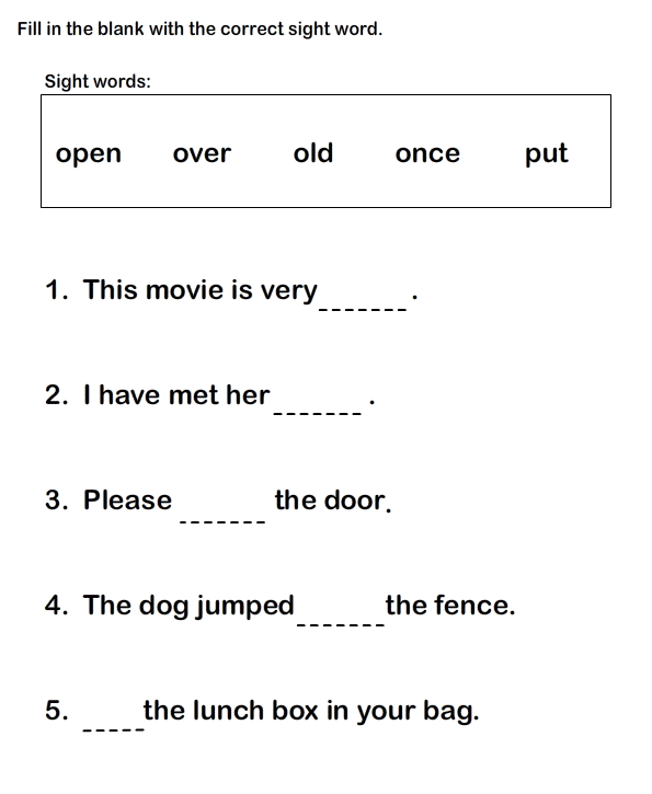 1st Grade English Worksheet Fill in the Blank