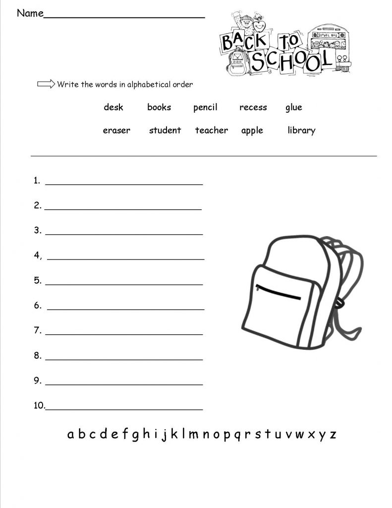 1st Grade School Worksheets