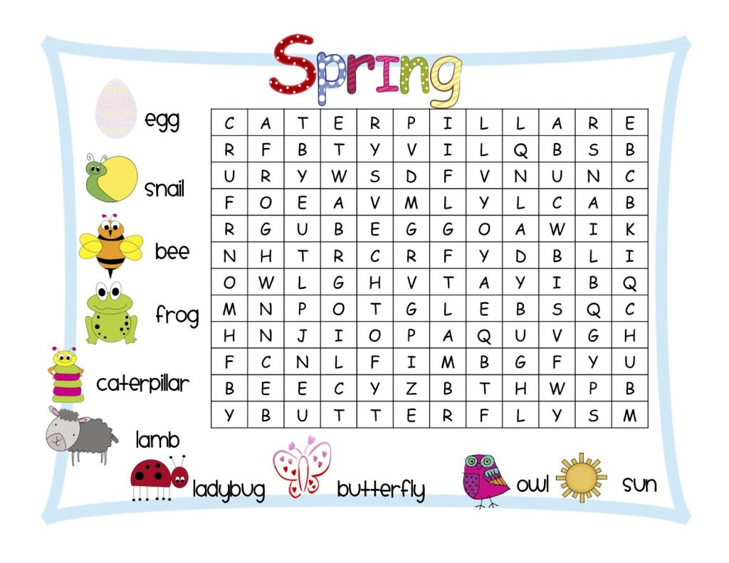 1st Grade Spring Word Search
