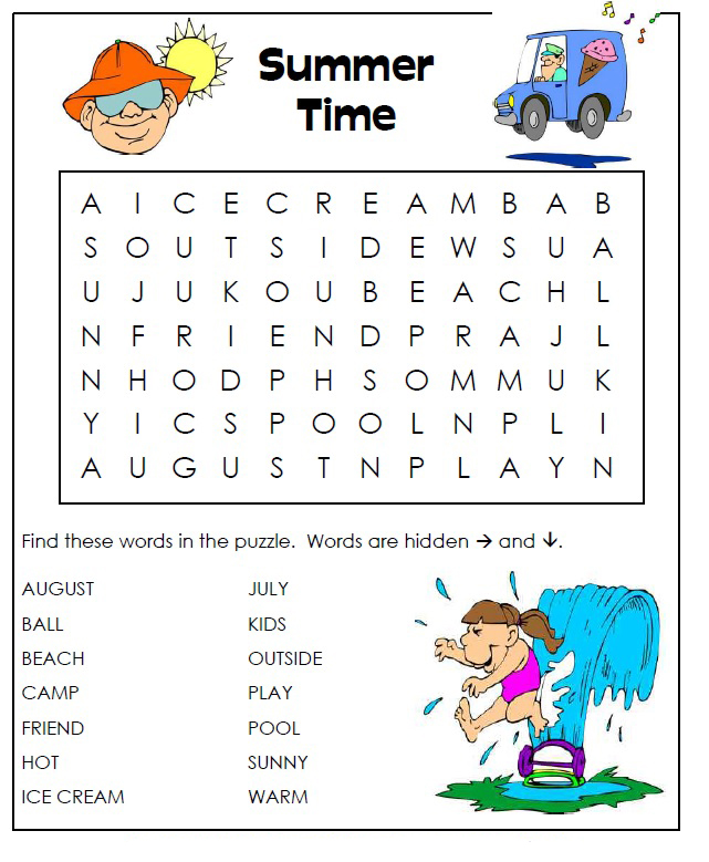 1st Grade Summer Word Search