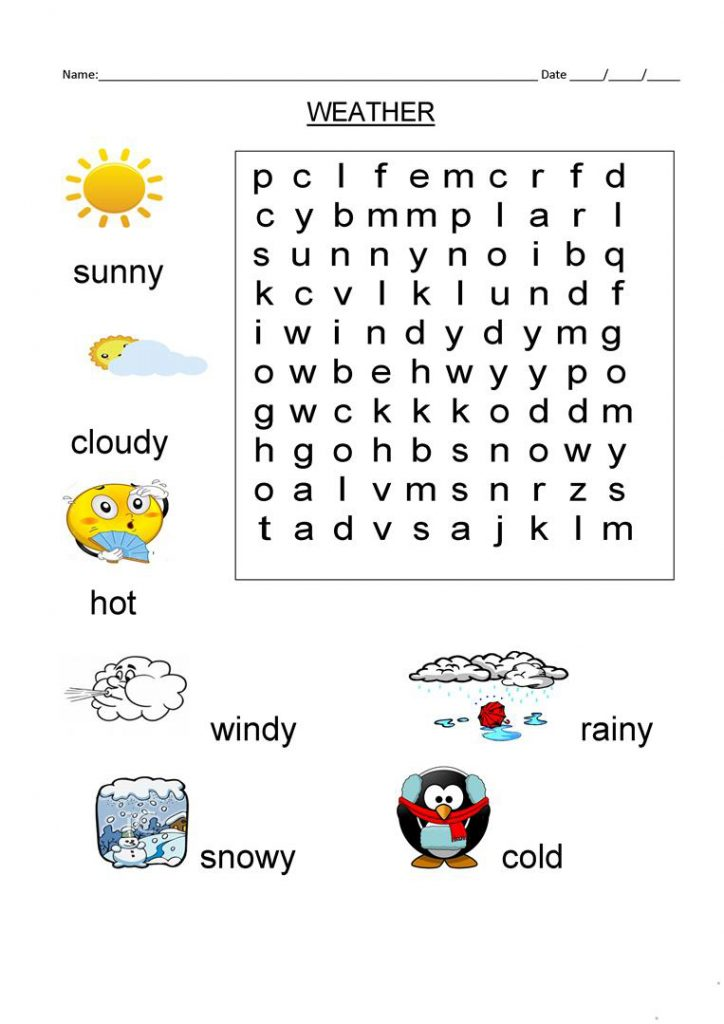 1st Grade Weather Word Search