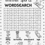 1st Grade Word Search Winter Sports