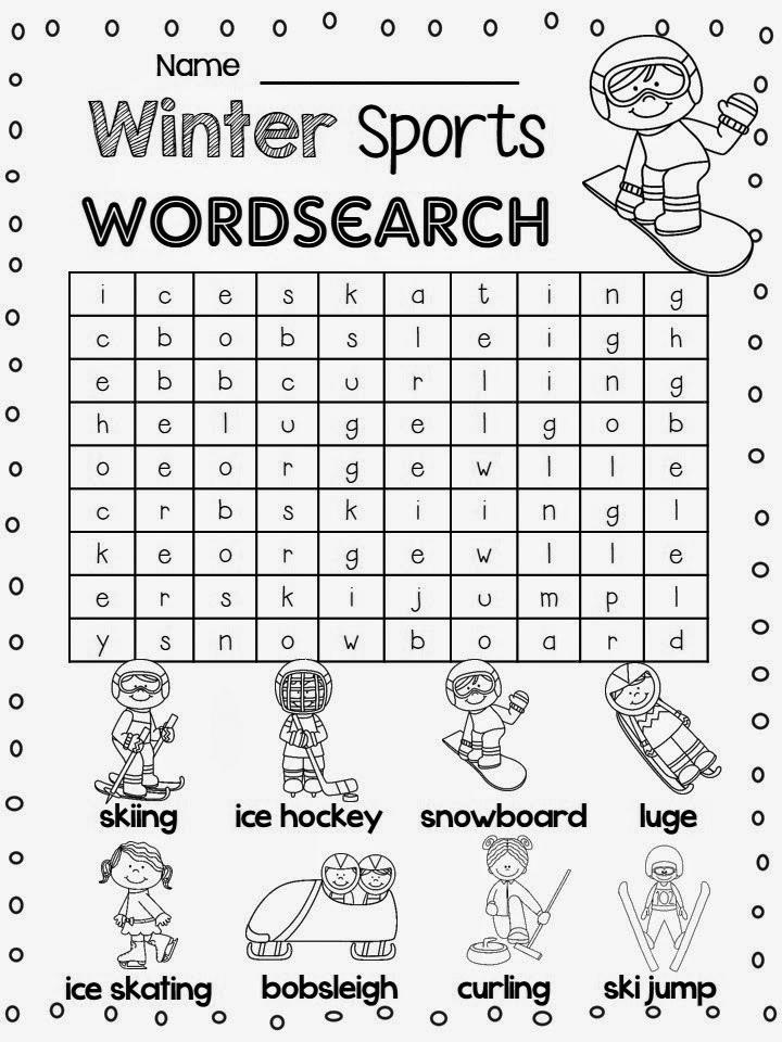 1st Grade Word Search Winter Sports