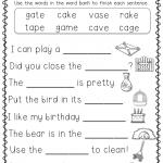 1st Grade Worksheet English