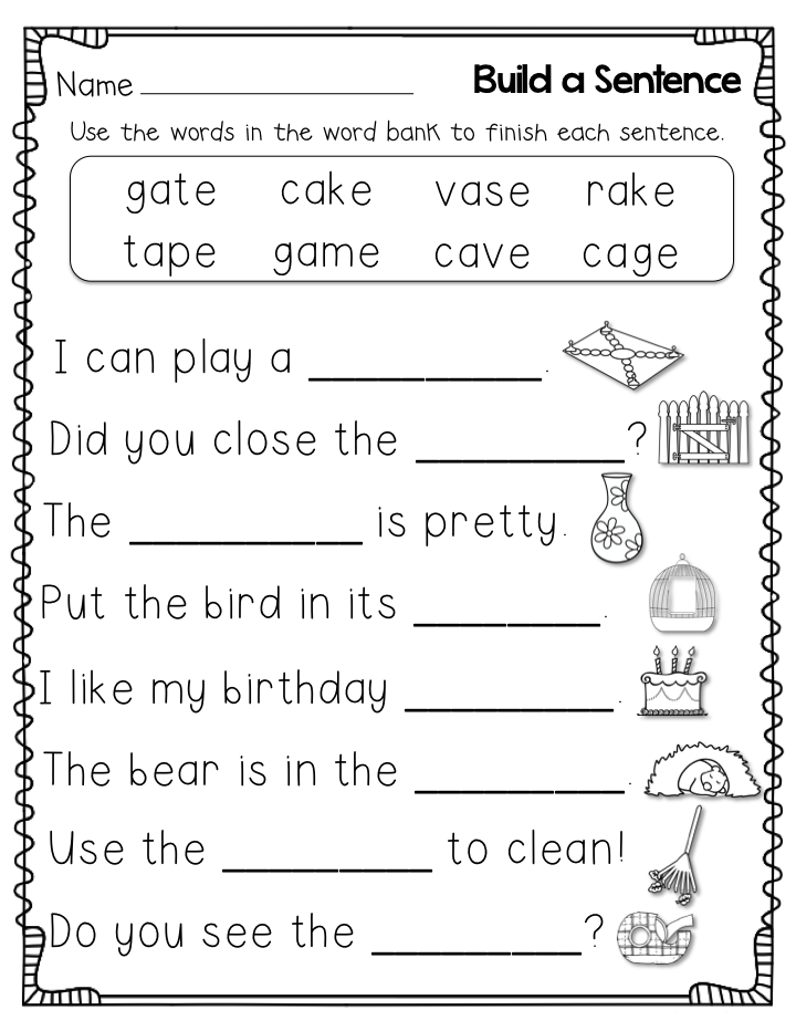 1st Grade Worksheet English