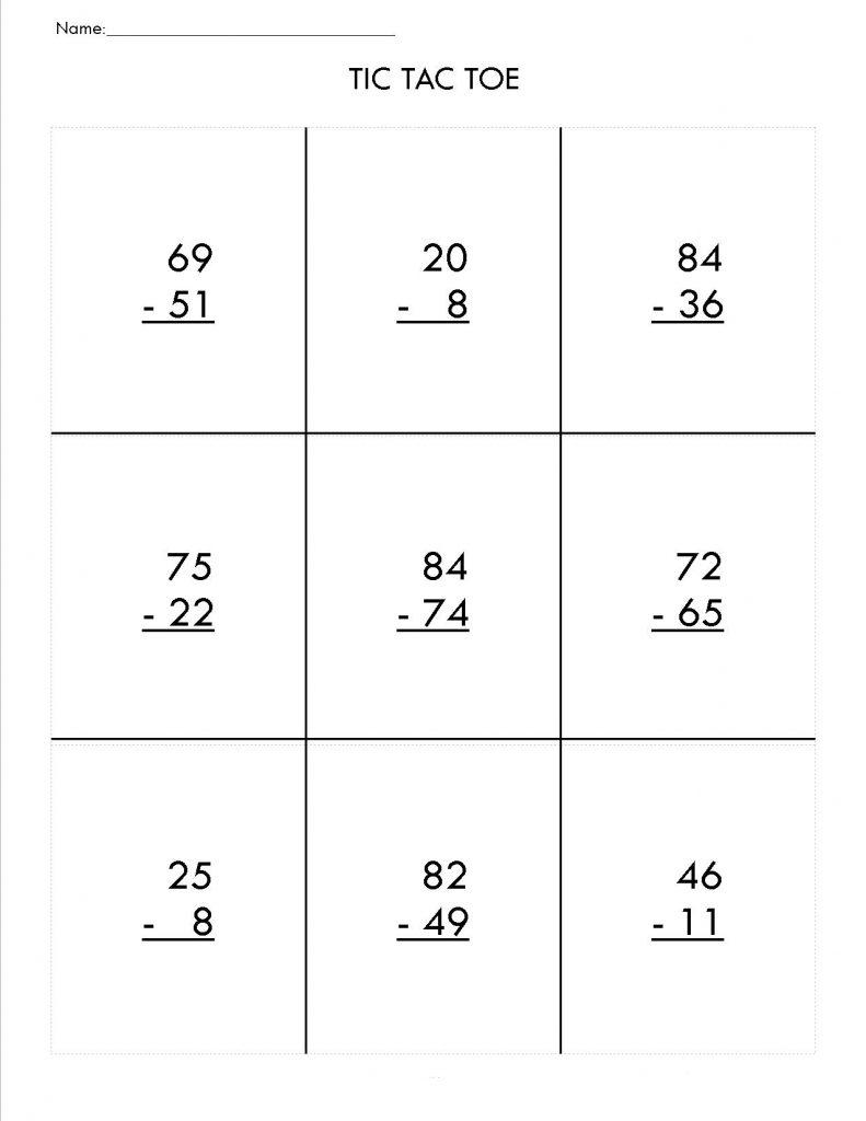 2nd Grade Math Tic Tac Toe Worksheets