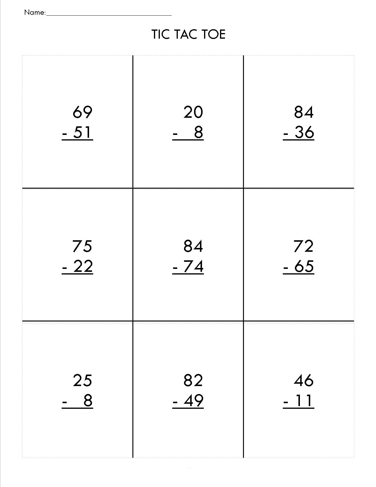 2nd-Grade-Math-Tic-Tac-Toe-Worksheets Math Worksheets Second Grade Regrouping on printable 2nd grade no, double-digit subtraction, two digit,