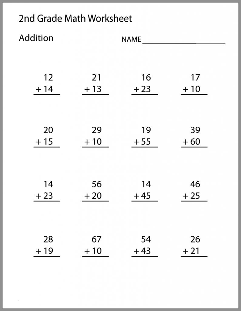 2nd Grade Math Worksheets Addition