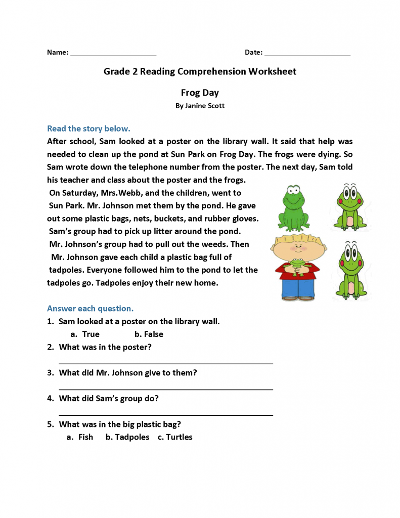 2nd Grade Reading Worksheets Best Coloring Pages For Kids