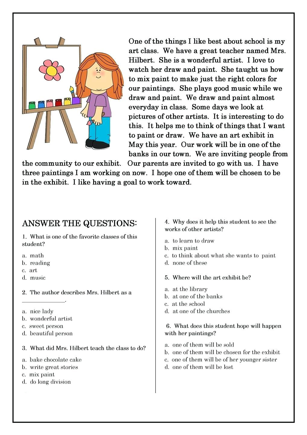 It is a picture of Accomplished Printable 2nd Grade Reading Worksheets