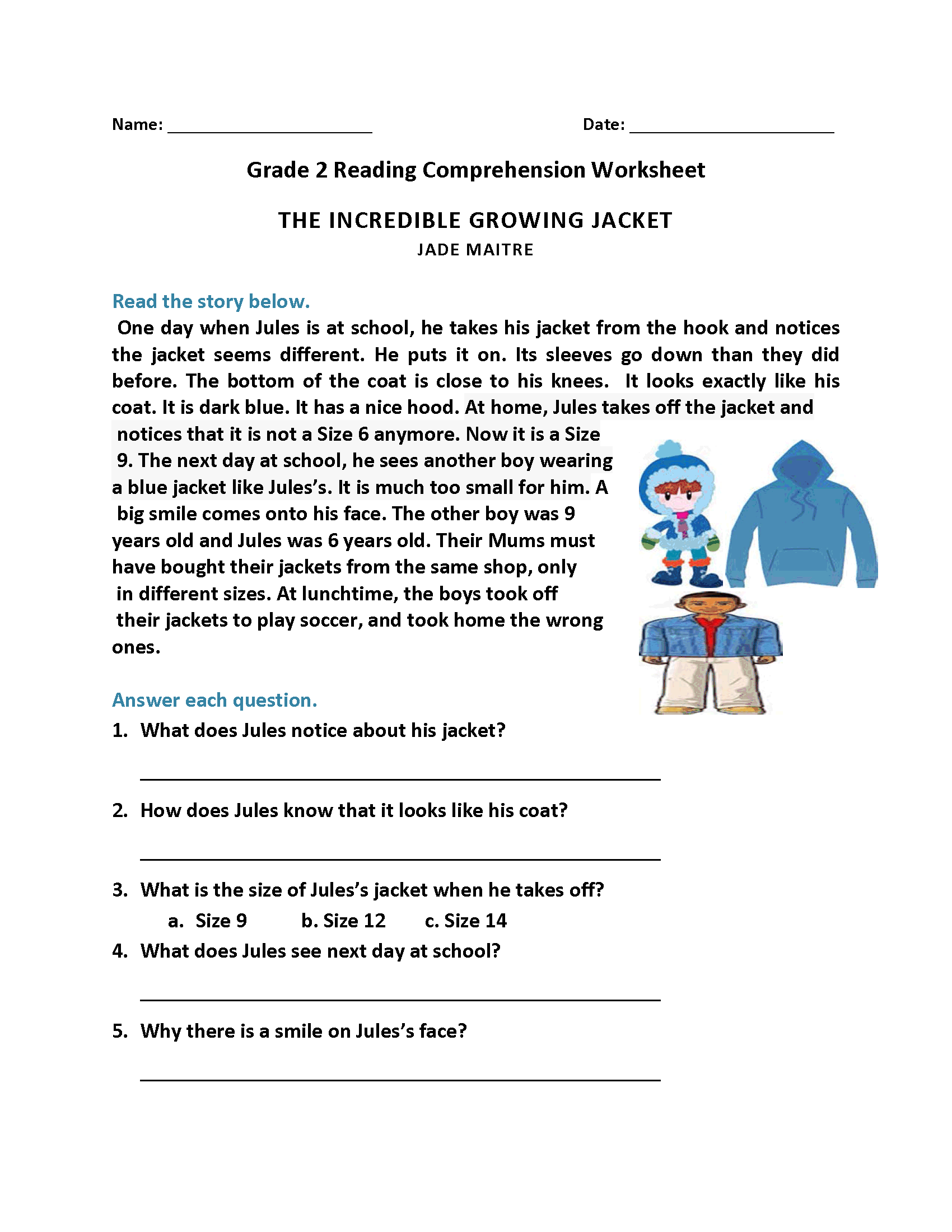 This is a photo of Enterprising Printable 2nd Grade Reading Worksheets