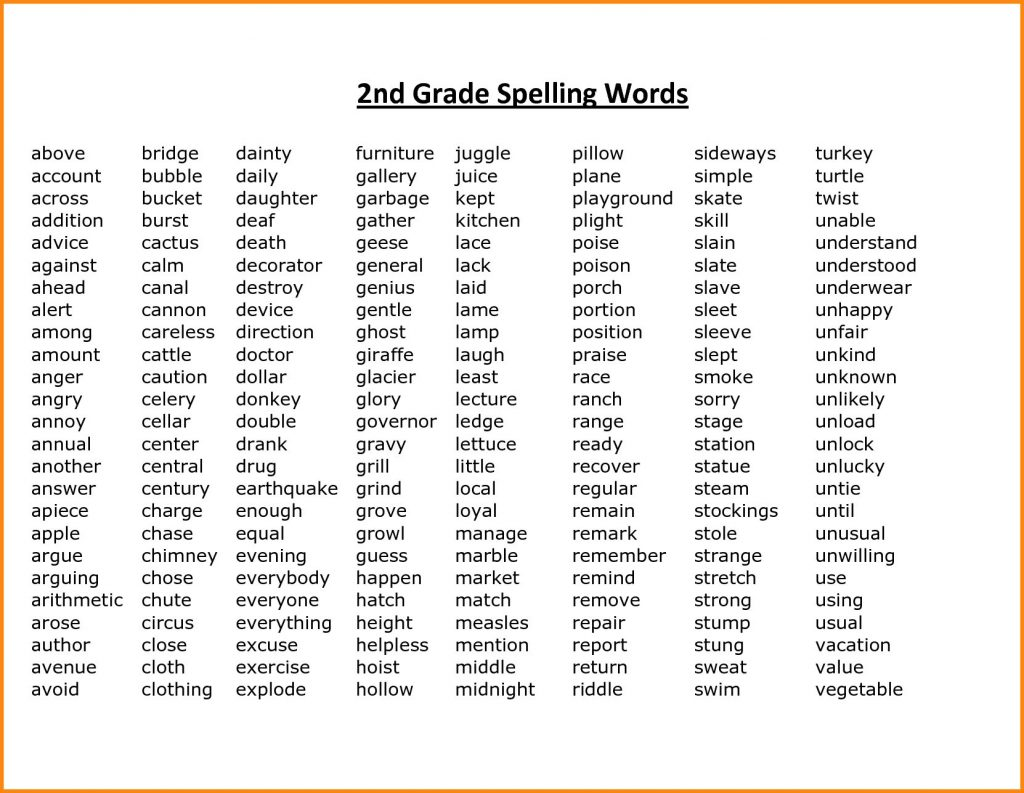 It's just a graphic of Massif Grade 2 Spelling Words Printable
