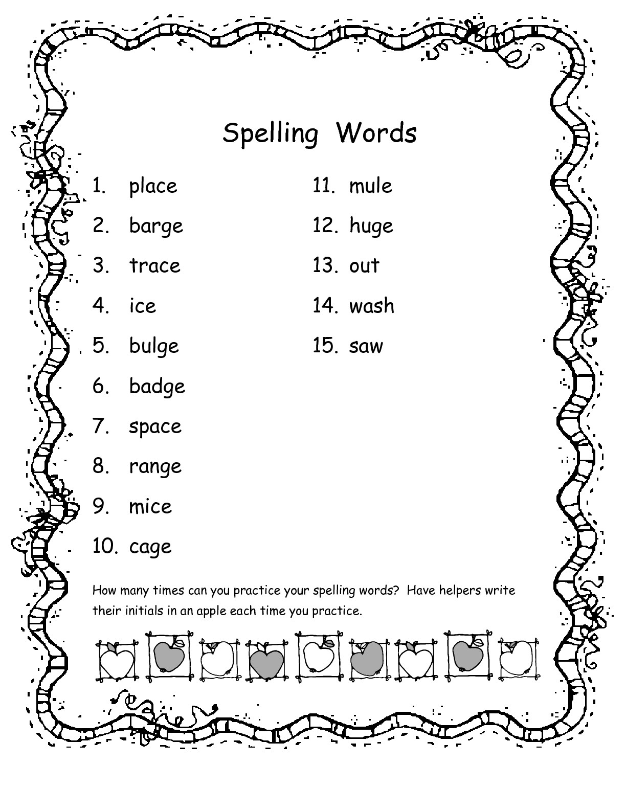 2nd Grade Spelling Words - Best Coloring Pages For Kids