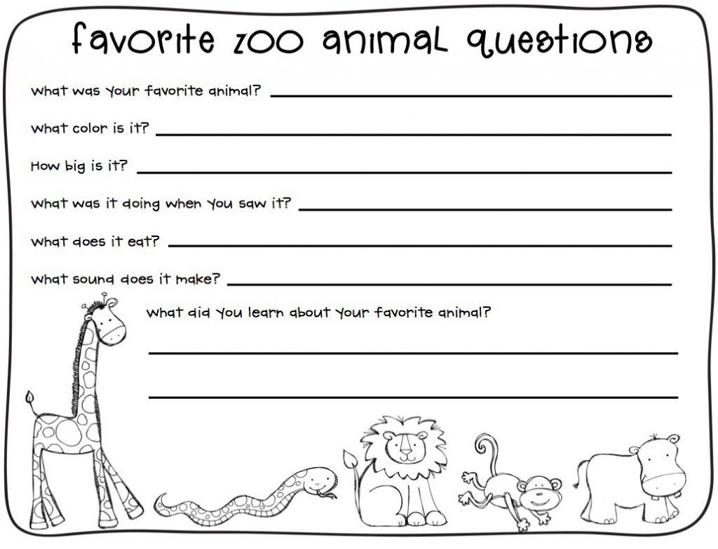 2nd Grade Writing Worksheet Zoo Animals