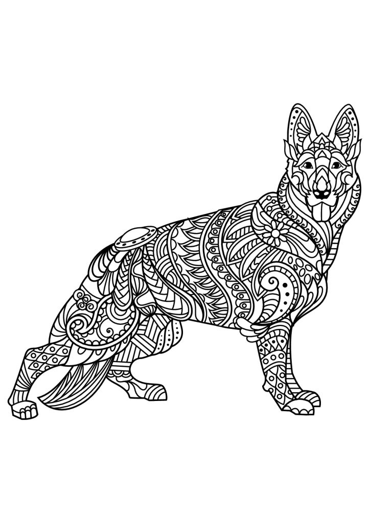 Adult Coloring Pages Dog Shepard
