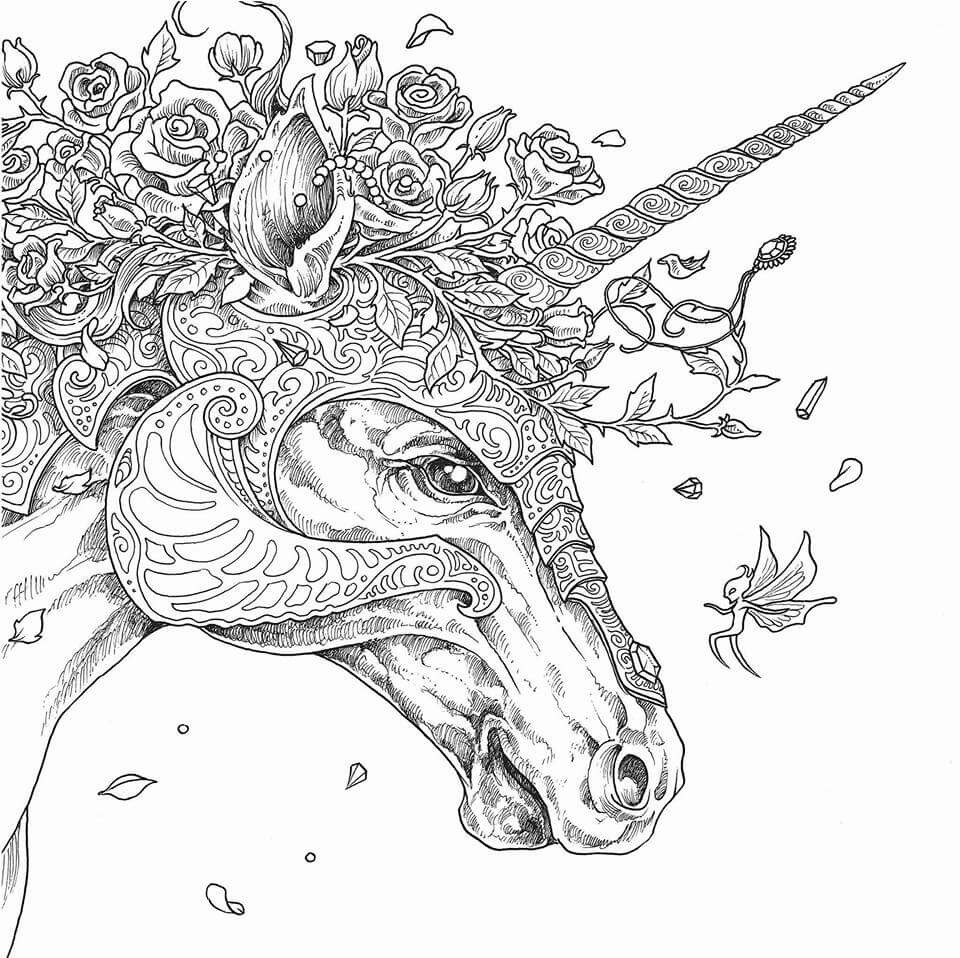 Advanced Unicorn Head Coloring page