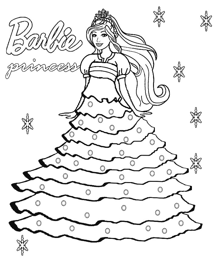 Barbie Princess Dress Coloring Page