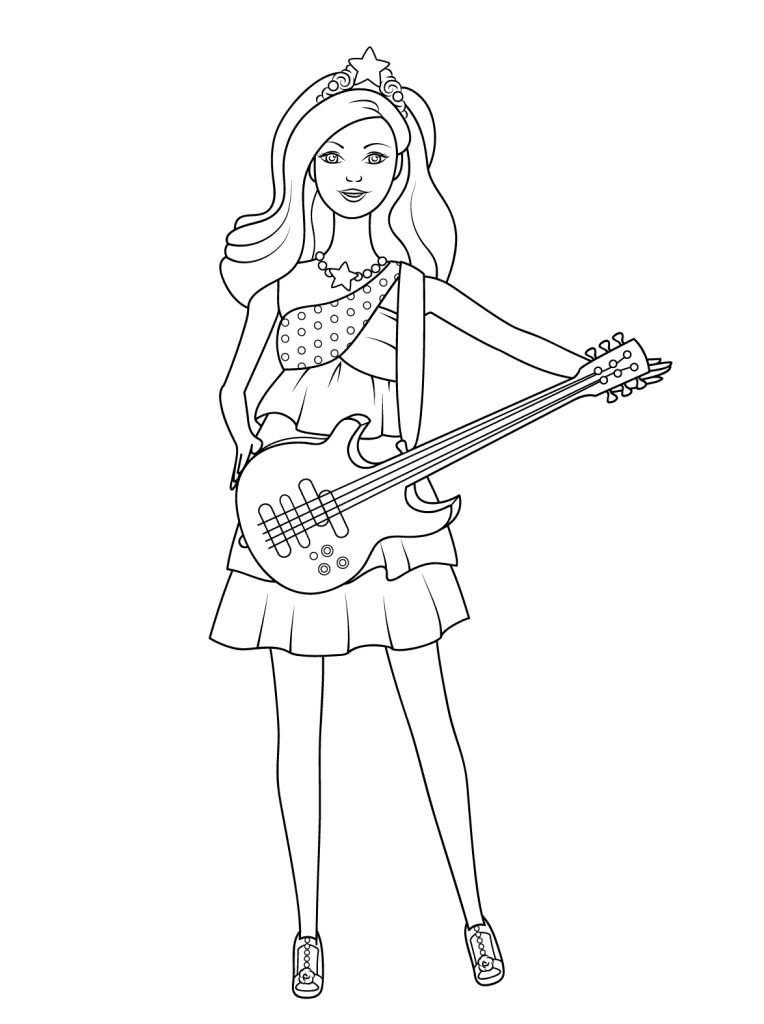 Barbie Princess Guitar Coloring Page