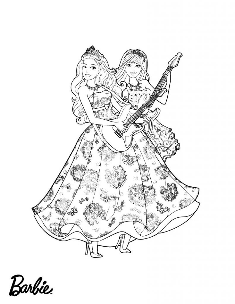 Barbie Princess Guitars Coloring Page