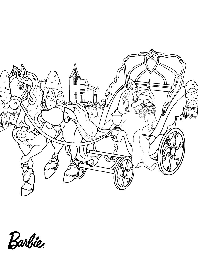 Barbie princess horse drawn coloring page