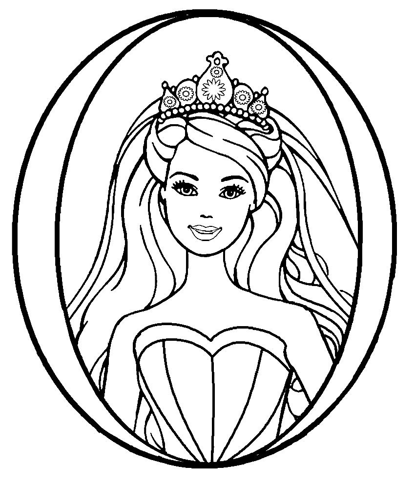 Barbie Princess Tiara Coloring Page