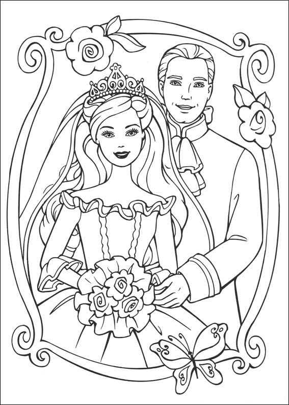 Barbie and Ken Princess Coloring Page