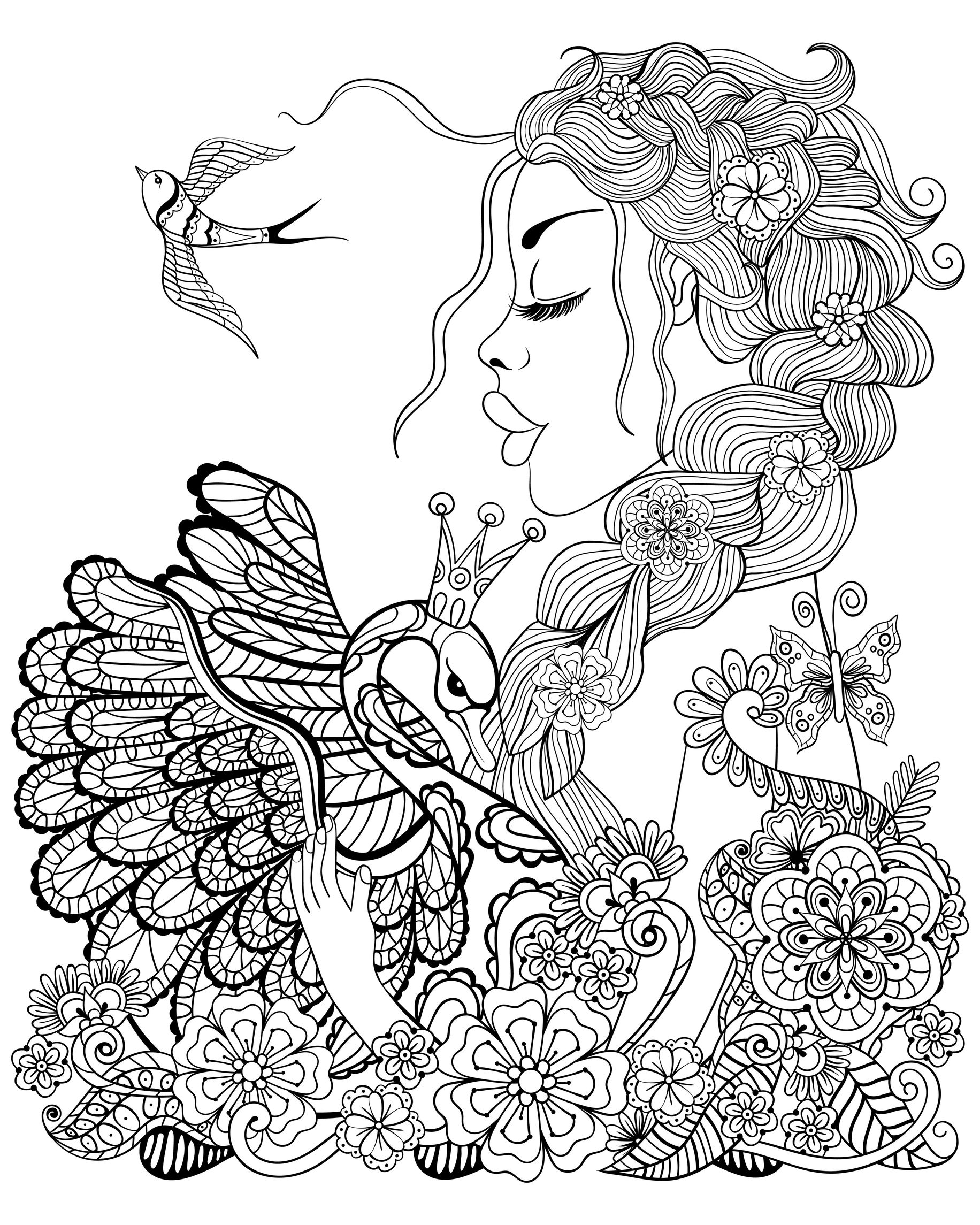 Beautiful fairy woman coloring for adults