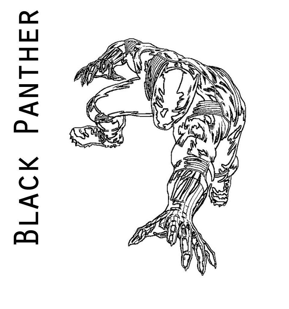 Black Panther Outline Coloring Page