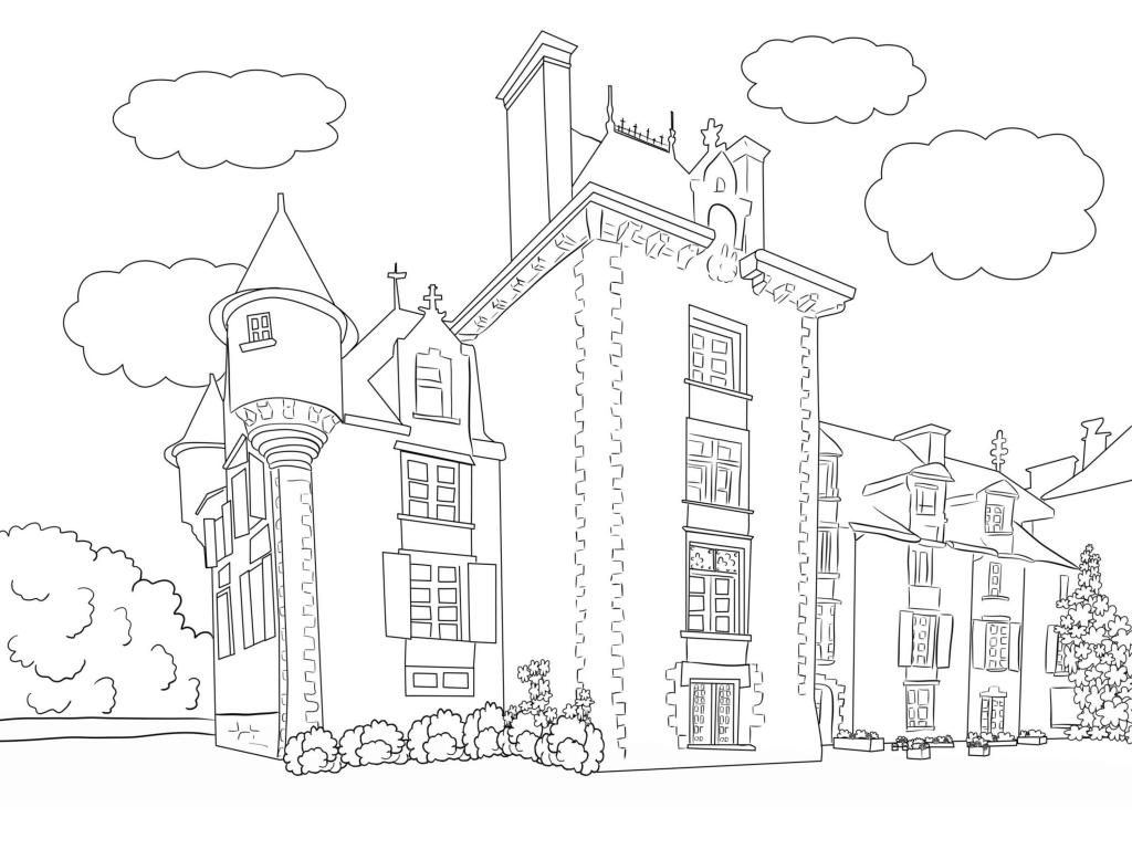 Castle Scene Coloring Page for Adults
