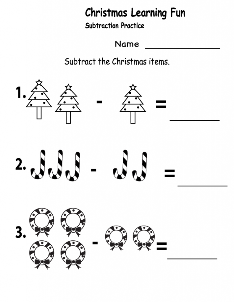 Christmas Subtraction - 1st Grade Math Worksheets
