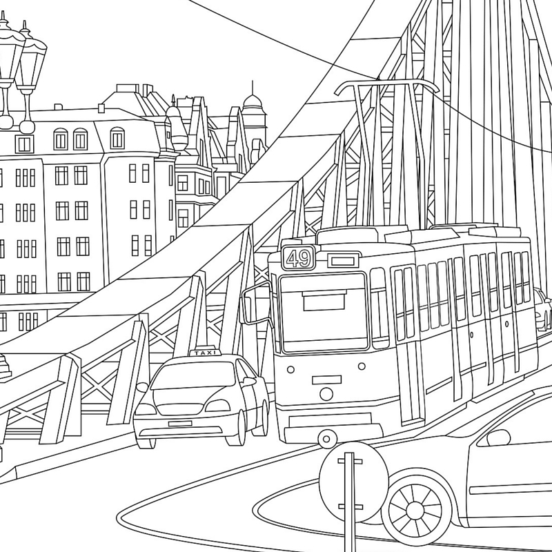 City Scenery Coloring Page for Adults
