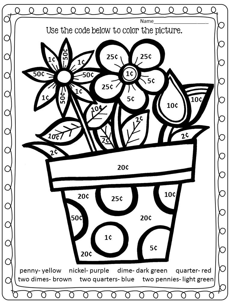 Color by Money Worksheet Spring Flowers