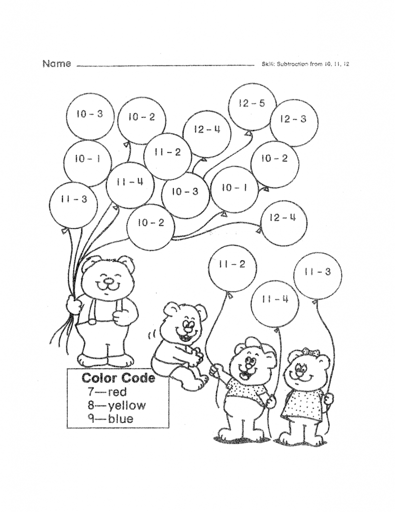Color by Subtraction 2nd Grade Worksheet