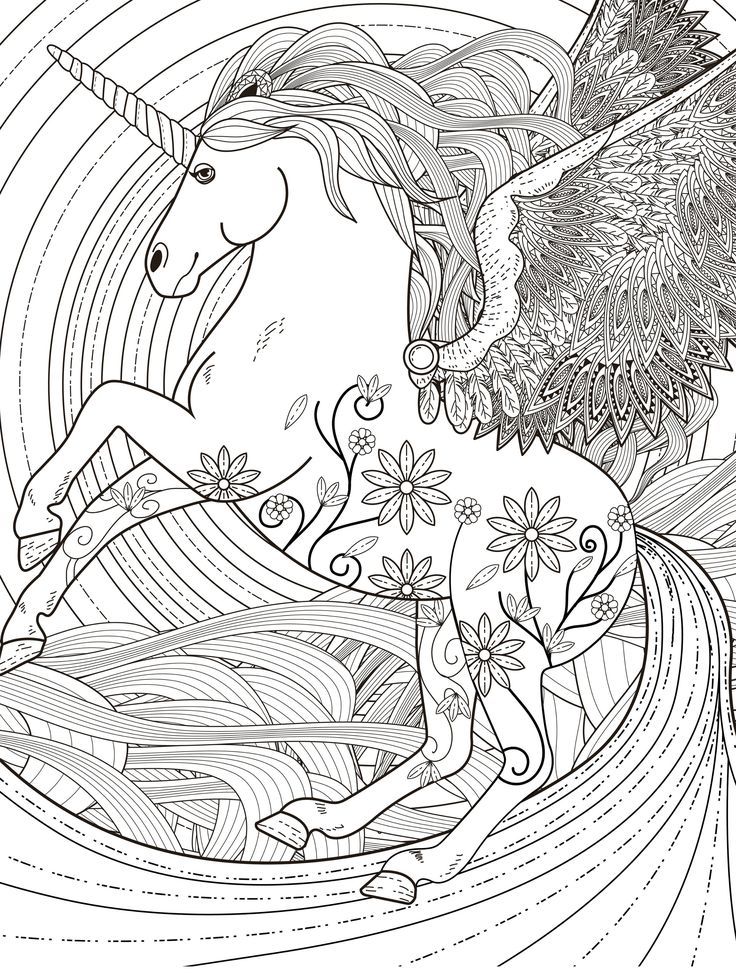 Complex Unicorn for Adult Coloring