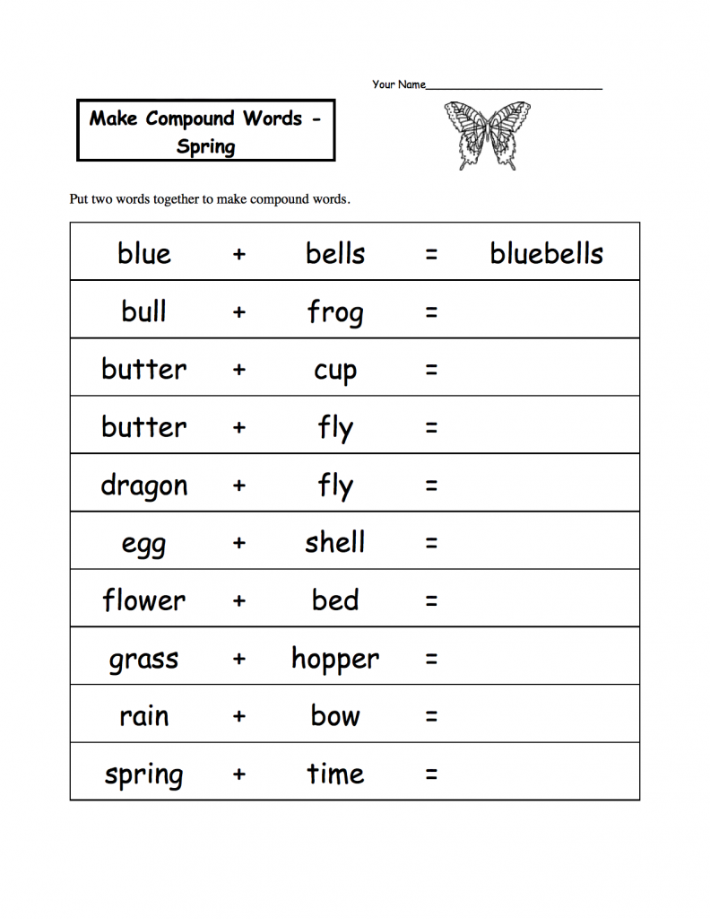 Compound Words Spring Worksheet