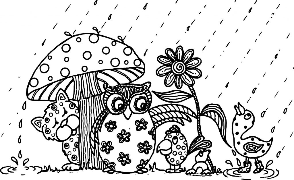 Cute Animals Hiding from Rain Coloring Page
