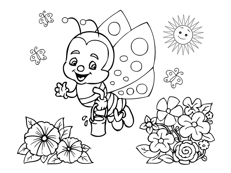 Cute Bug April Coloring Page