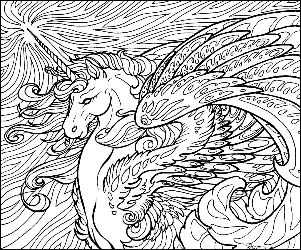 Detailed Unicorn Coloring Page for Adults