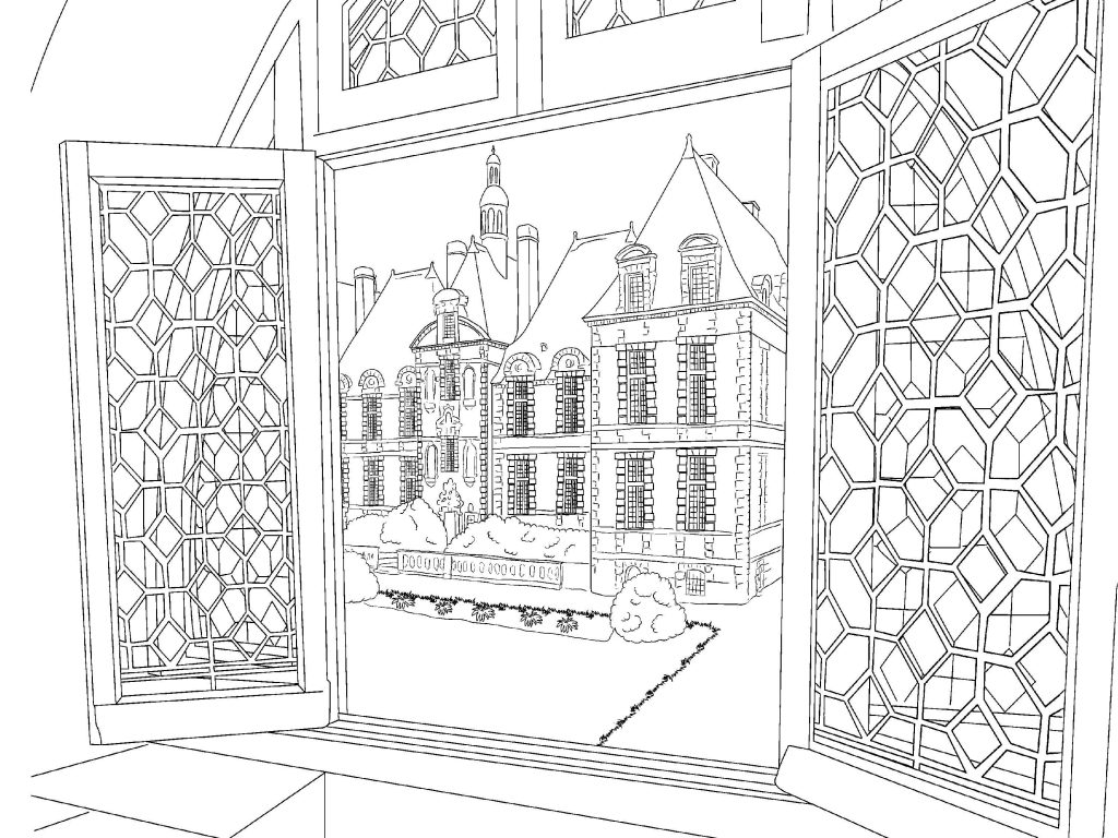 Door Scenery Coloring Page for Adults