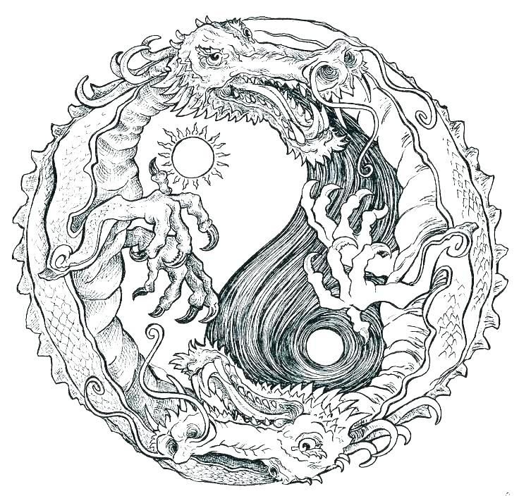 Dragon Yin YangColoring Pages for Adults