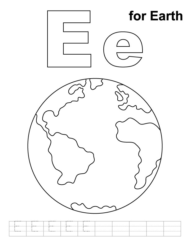 E for Earth Writing Worksheet