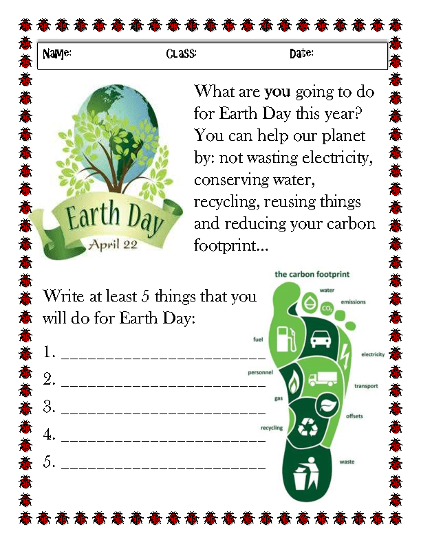 Earth Day Activity Worksheet