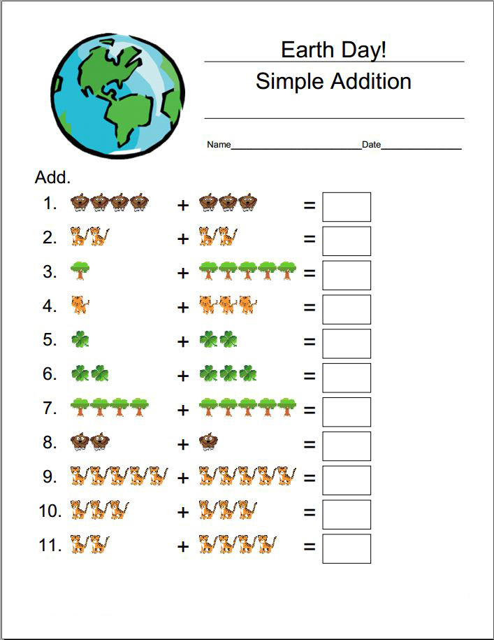 Earth Day Addition Worksheets