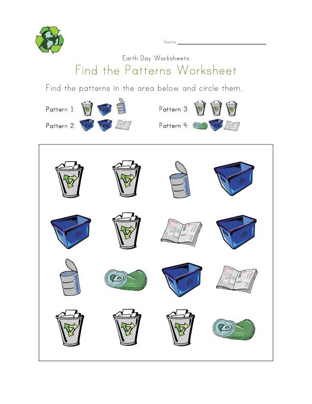 Earth Day Patterns Worksheets