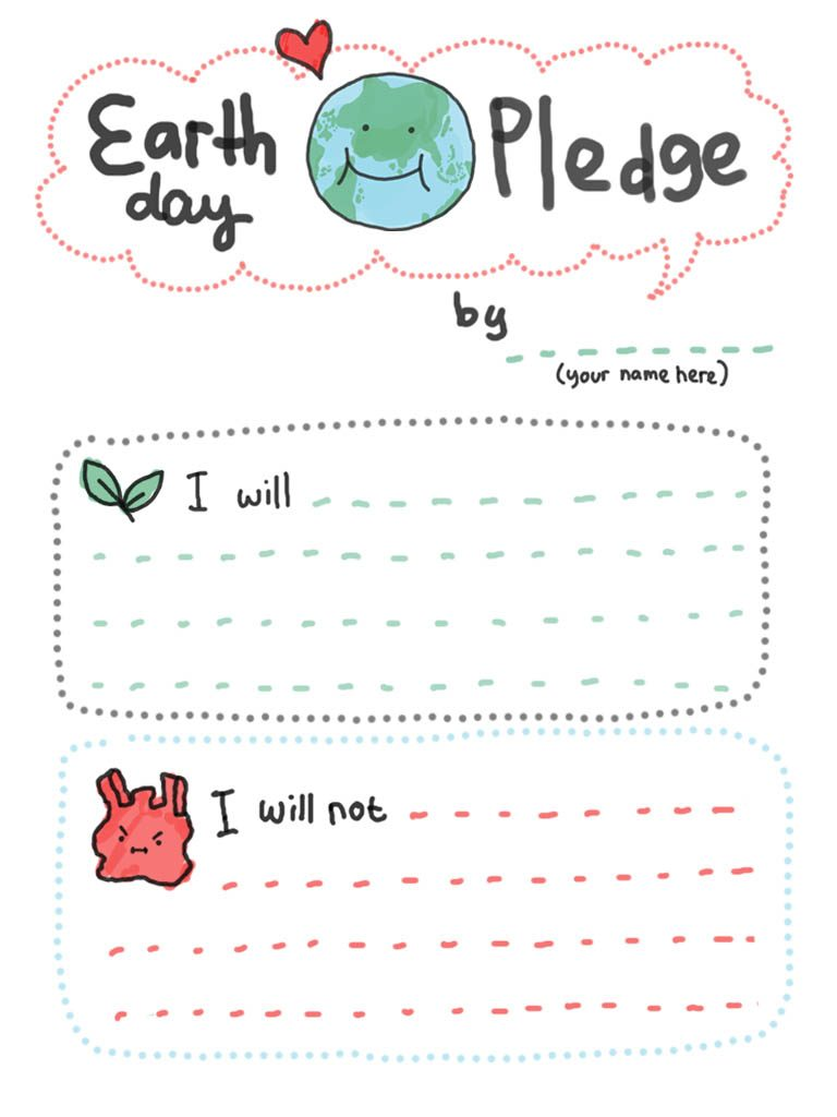 Earth Day Pledge Printable Sheet