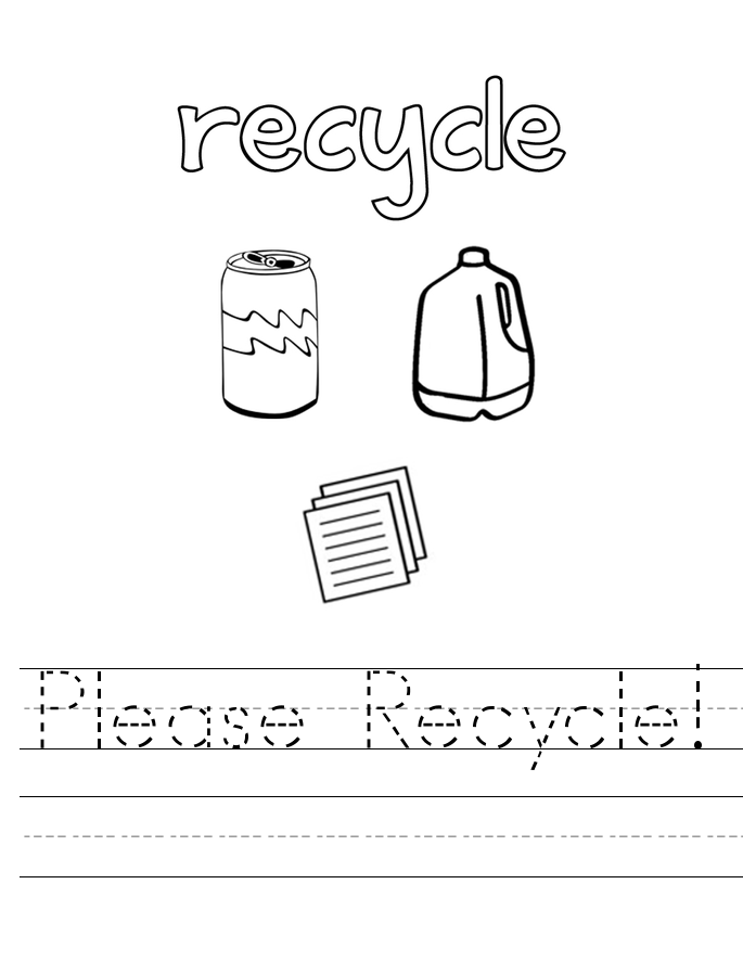 Earth Day Recycle Tracing Worksheet